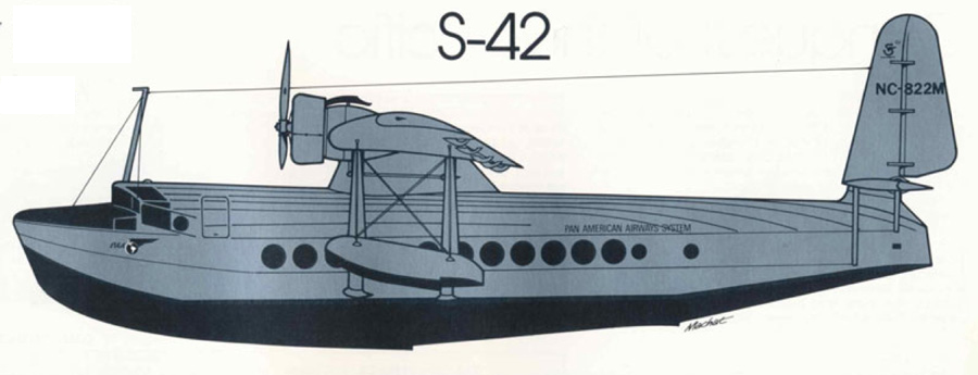 Sikorsky S-42 drawing from REG Davies -Author, Mike Machat-Illustrator