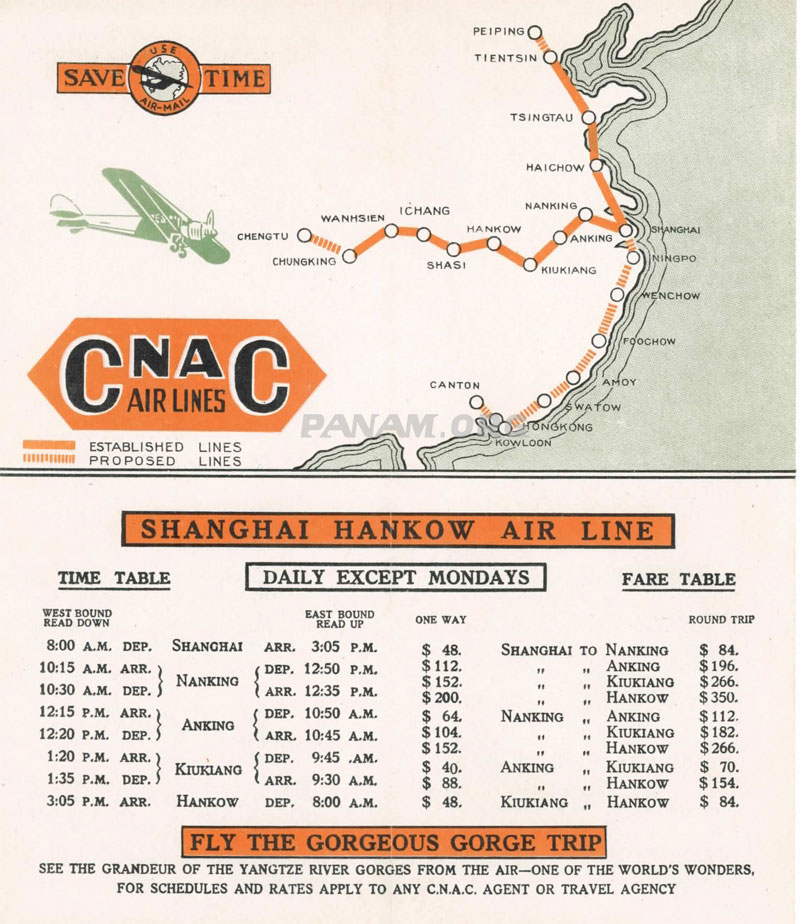 Early CNAC Routes (Pan Am Historical Foundation Collection)
