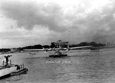 Mission to China Part 3 China Clipper approaching landing barge Manila Nov 29 1935