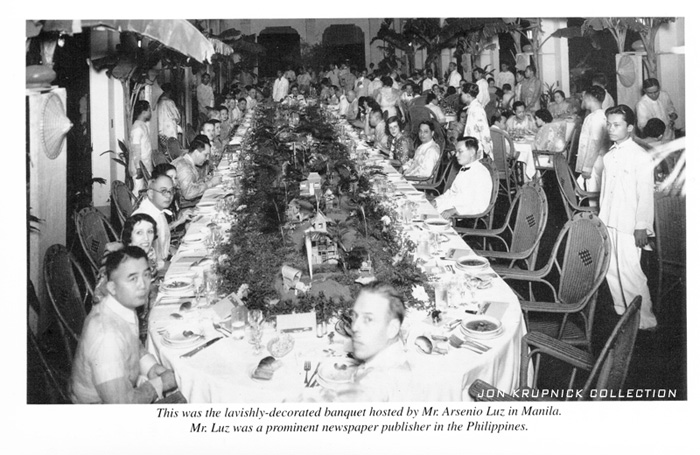 Manila banquet in October 1936 with Harold M. Bixby in the foreground (Courtesy Jon Krupnick Collection)