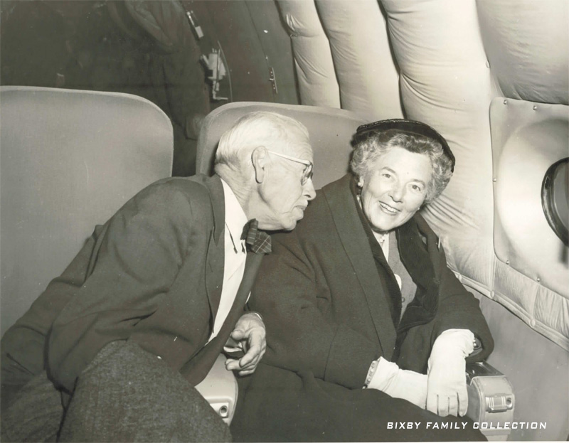 Harold Bixby  & Debby on Boeing 707 prototype in 1955 (Bixby Family Collection)