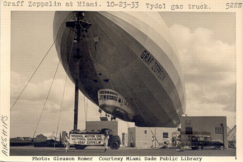 1Graf Zeppelin at Miami 10 23 33 with Tydol Gas Truck