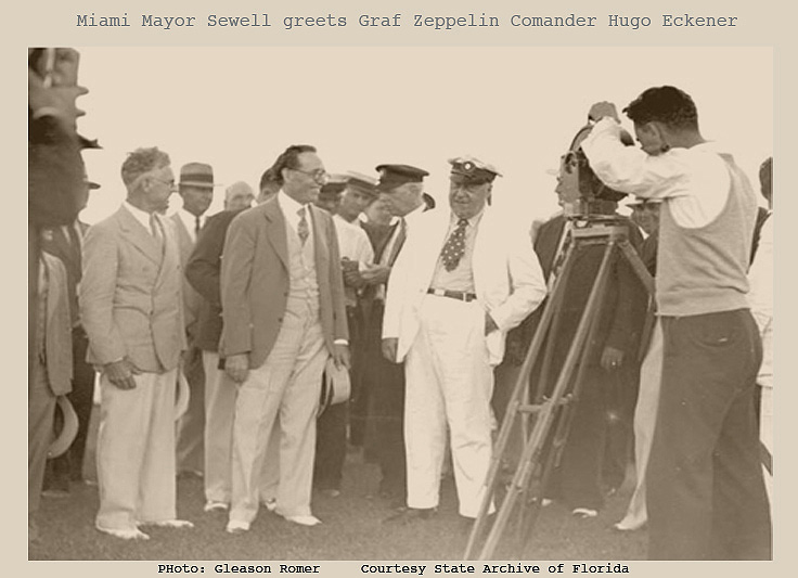 3 Miami Mayor Sewell greets Graf Zeppelin Commander Hugo Eckener