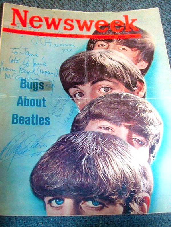 Pan Am Beatles Newsweek cover autographed Jane Luna Euler
