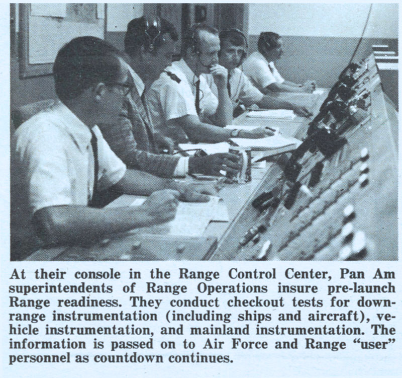 Pan Am Aerospace Services Division workers at console Kennedy Space Center, FL