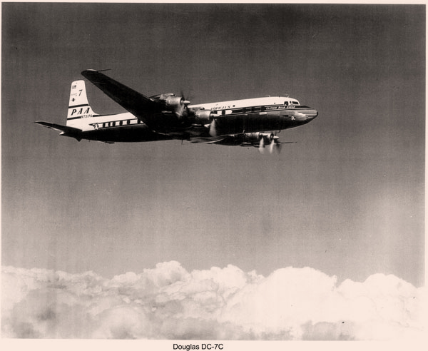 "A Pan Am ""Seven Seas"" in its natural element: DC 7C in flight"