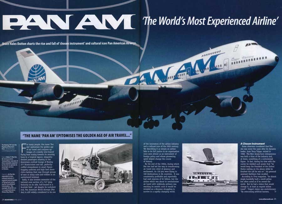 Airliner World two-page spread, Pan Am article, April 2014