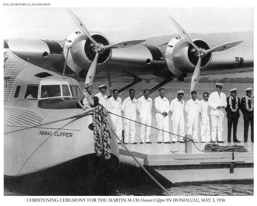 Christening ceremony of Pan Am's Hawaii Clipper, M-130 flying boat, 1936