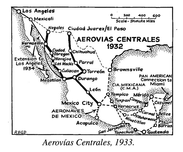 R.E.G. Davies Map of Aerovias Centrales  (Banning/PAHF Collection)