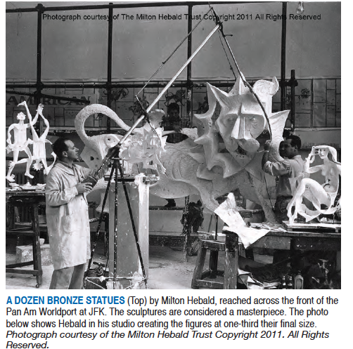 Milton Hebald working on Pan Am sculptures for the Worldport