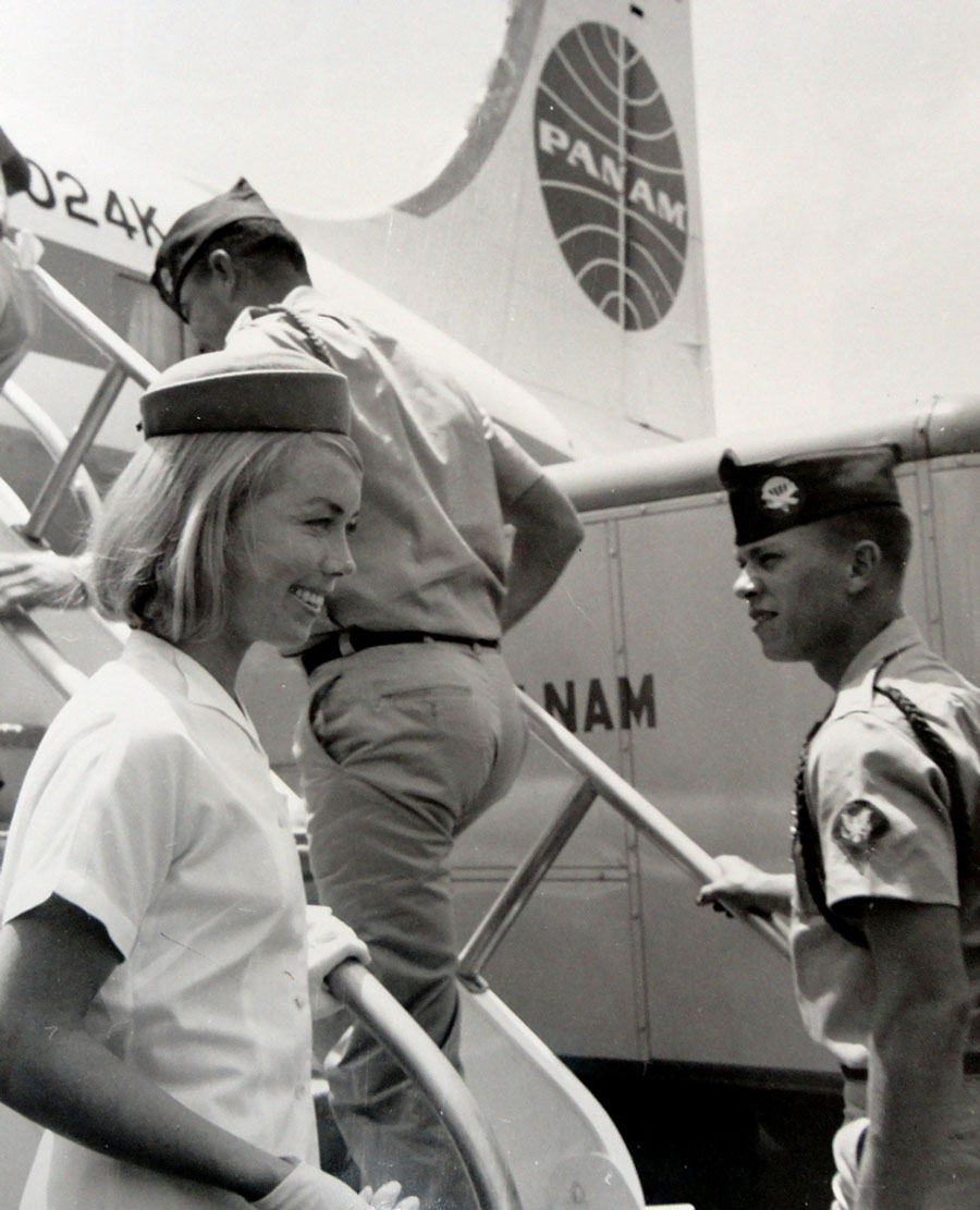 6a Pan Am Stewardess Isabel Dustman greets GI PAHF Final