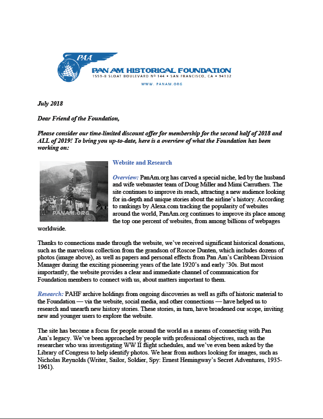 Update on PAHF: Letter from President Pete Runnette, page 1 of 4 , July 2018