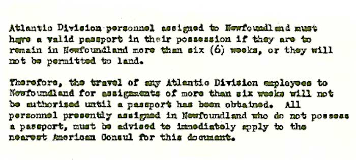 PAA Memo on Passports for Gander