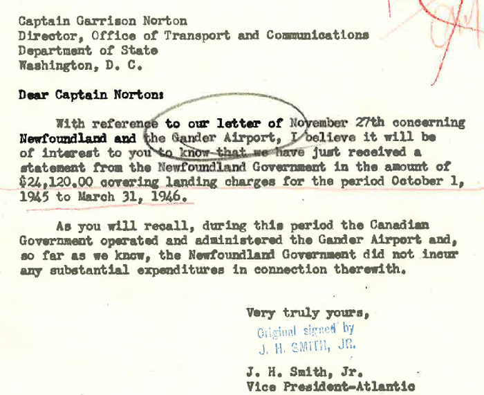 Garrison Norton Memo on Landing Costs