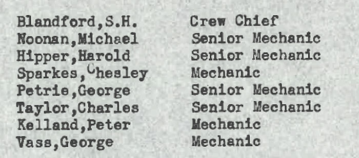 Pan Am List of Mechanics & Crew Chief