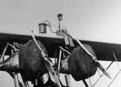 NYRBA worker atop Sikorsky S-38