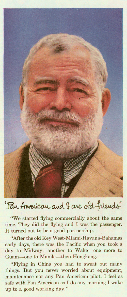 Pan Am ad with Ernest Hemingway 1956