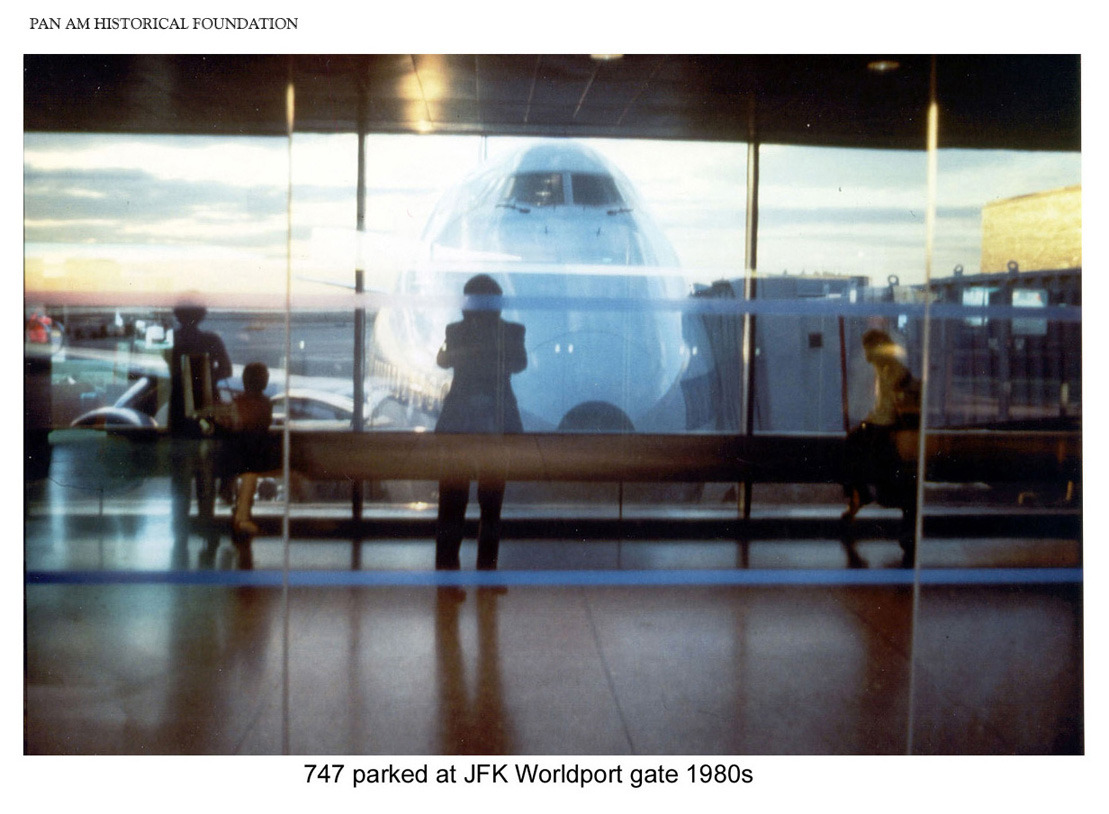 Pan Am 747 parked at gate, Worldport, 1980s