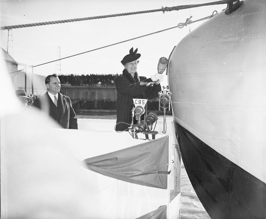 Juan Trippe Mrs Roosevelt Pan Ams Yankee Clipper Christening March 1939