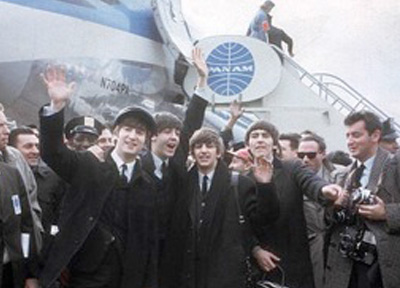 Pan Am's Jill Kellogg and Beatles at JFK