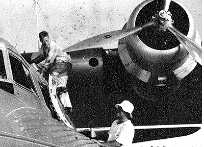 John Leslie climbs aboard Pan Am's China Clipper flying boat