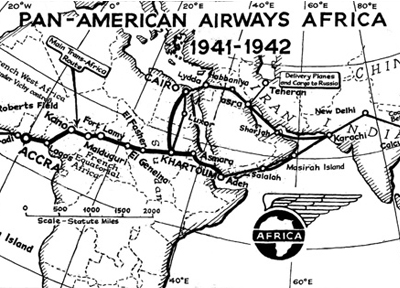 Pan American Airways Africa map