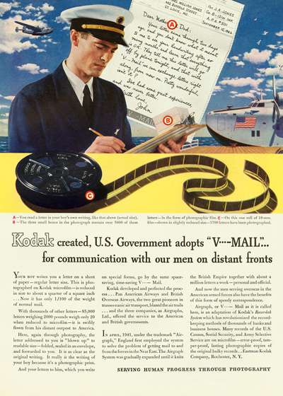 Pan Am V-Mail wartime advertisement, World War Two