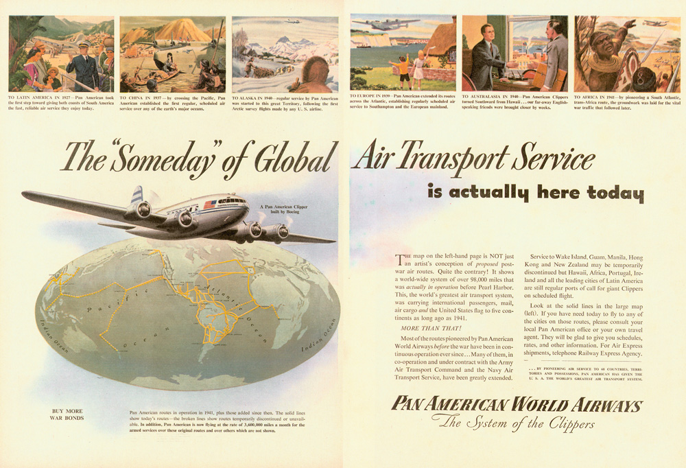 Pan Am world routes 1944 Someday Ad