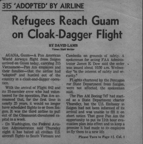 Lamb article Pan Am Saigon Vietnam page 1