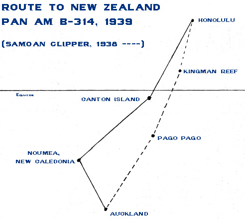 Pan Am New 1939 Old 1938 NZ Routes