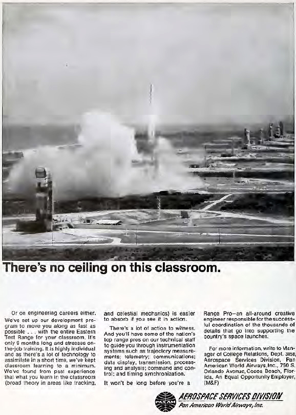 Theres No Ceiling in the Classroom 1968 Pan Am Ad for Guided Missile Range