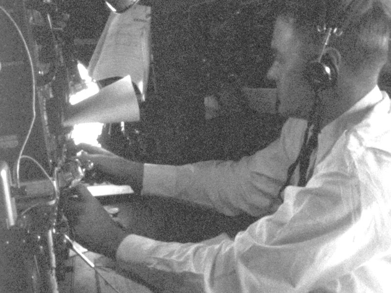 Flight Radio Officer on Constellation, 1946. Ed Dover photo.