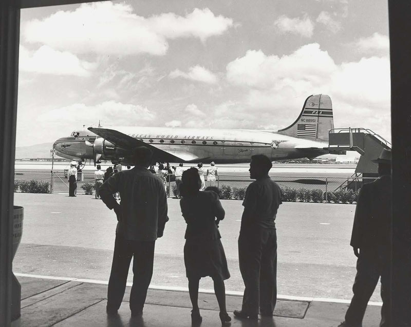 Pan Am DC-4 in Honolulu 1948, courtesy Hawaii.gov