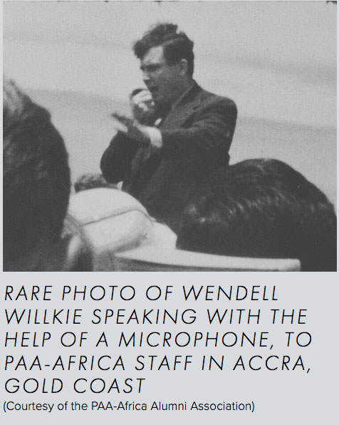 Rare photo of Wendell Willkie speaking with the help of a microphone to PAA Africa staff in Accra Gold Coast