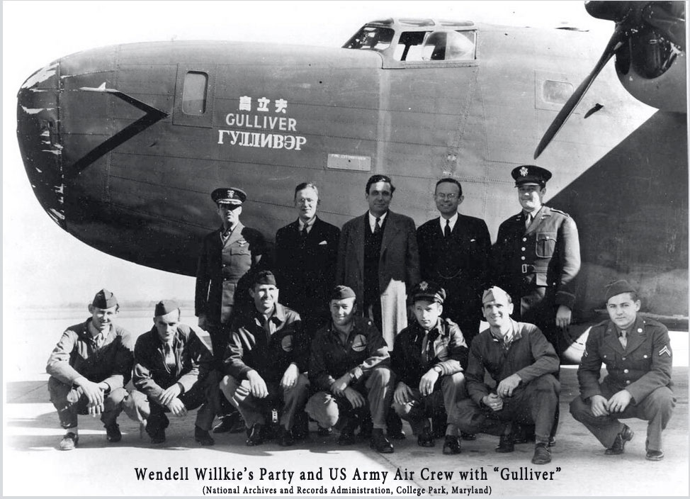 "Wendell Willkie and US Army Air Crew with ""Gulliver"""