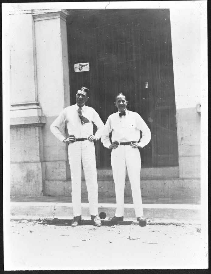 Panama Canal Zone employees in front of Pan American Airways office