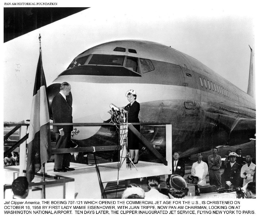 Pan Am President Juan Trippe and Mamie Eisenhower christening the first Boeing 707, October, 1958
