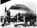 Juan Trippe with Mamie Eisenhower at Pan Am B-707 Christening, 1958