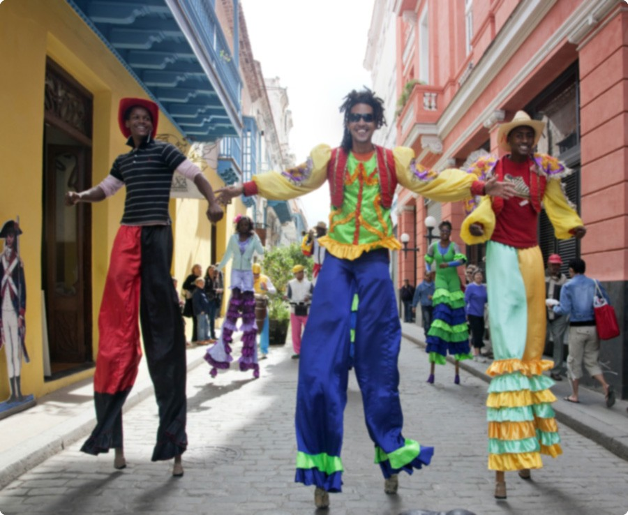 Stilt, dancers in Cuba, photo courtesy of Library of Congress,  Pan Am Historical Foundation tours