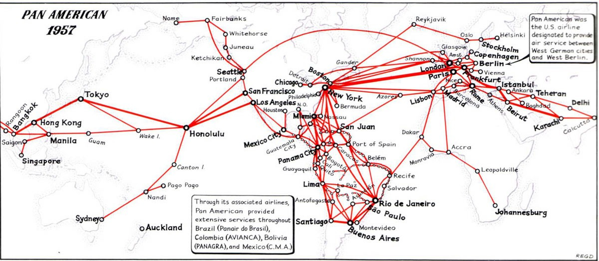 Pan Am Propliner Routes 1957, R.E.G. Davies collection