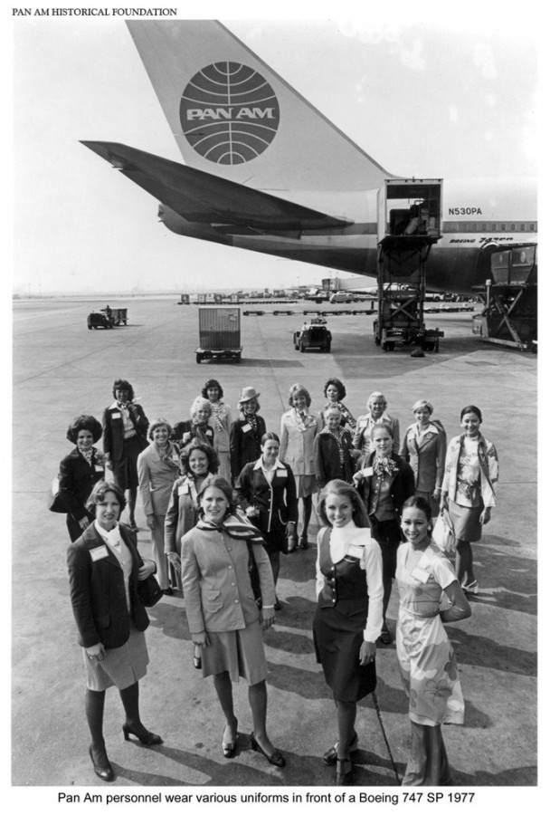 Pan Am, Stewardesses, uniforms,1970, Boeing, 747
