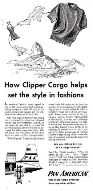 Pan Am Cargo sets fashion style, advertisement