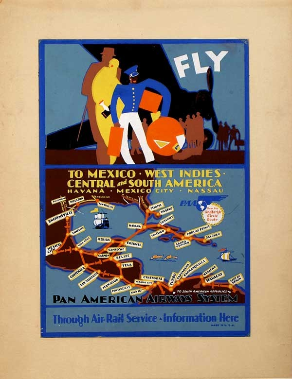 Pan Am Routes through Central America, Caribbean and into South America, National Air and Space Museum, c. 1928.