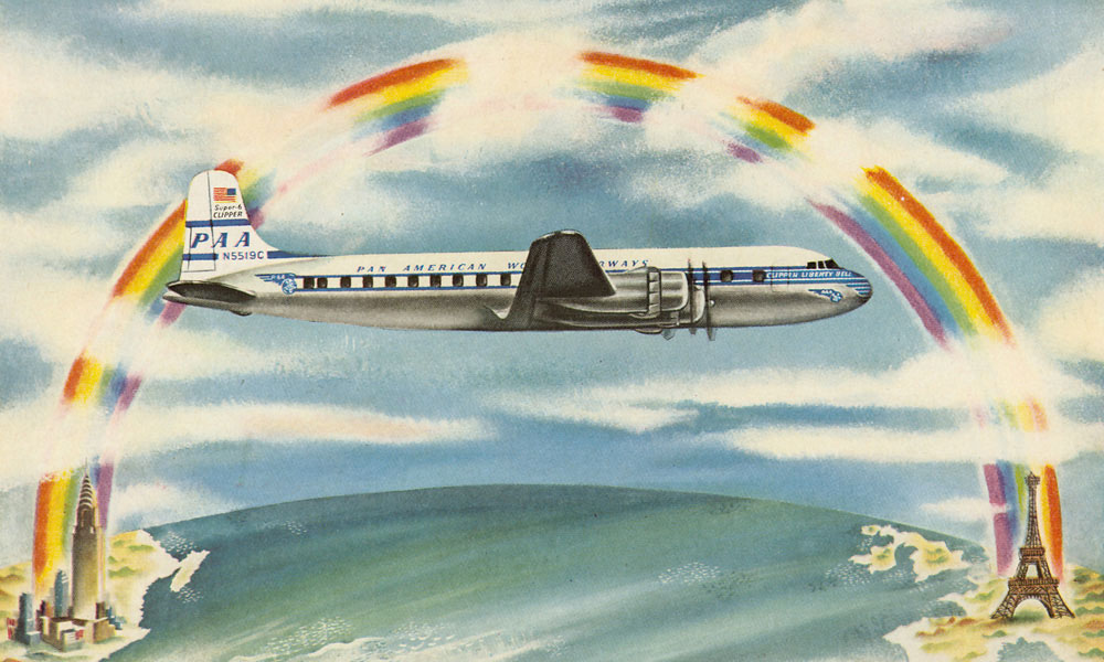 Pan Am Ad featuring Douglas Super-6 Clipper Rainbow Tourist Fares to Europe, 1950